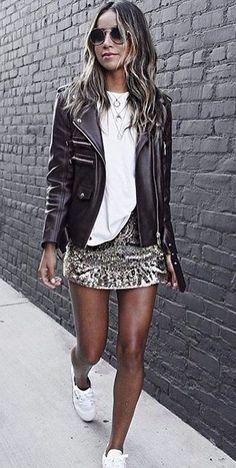mini skirt and moto jacket