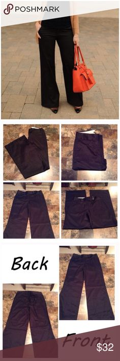 """J.Crew Favorite Fit Wide Leg Pants First pic of model wearing this style of Pants. Last 3 pics are of actual item/color. NWT. Size 4. Color black. Made of 100% cotton. No belt loops. 4 pocket design. Wide Leg. The Leg Opening """"11. Inseam """"33. Laying flat """"14.5. The Rise """"9.5. Length """"42. This item is NWT and never worn. Authentic and from a Smoke And Pet free home. All Offers through the offer button ONLY.  Please use the Offer button, I WILL NOT negotiate in the comment section. Thank You😃…"""