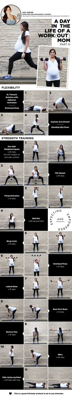 The workout starts with flexibility movements and then transfers into strength training exercises. This workout, as well as our comprehensive pregnancy fitness guide, Expecting and Empowered, inclu…