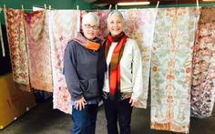 Botanical printing and dyeing workshop  taught by Marilou Moschetti and Jo Ann Manzone