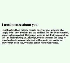 I used to care about you
