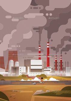 Nature Pollution Plant Pipe Dirty Waste Air by prostockstudio Nature Pollution Plant Pipe Dirty Waste Air And Water Polluted Environment Flat Vector Illustration