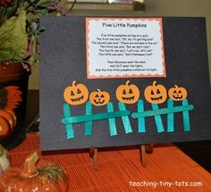 Five Little Pumpkins and craft idea!  #Halloween, #fivelittlepumpkins, http://www.teaching-tiny-tots.com/toddler-activities-five-little-pumpkins.html