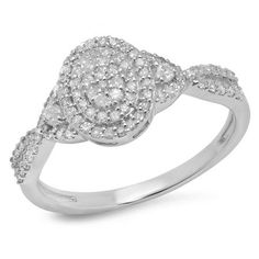 Express your deepest love with this glamorous diamond engagement ring. Created in 10K White Gold, the engagement ring features an oval-shaped frame set with shimmering round diamonds. A double border of smaller round accent diamonds frames the center cluster, while two prong-set diamonds flank the center cluster and additional diamonds line the gracefully twisting shank. A beautifully feminine look, this engagement ring captivates with 1/2 ct. t.w. of diamonds and a polished shine.
