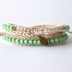 Items similar to Beaded Wrap Bracelet, Off White and Sea Foam, Womens bracelet, Beaded Friendship Bracelet on Etsy Crochet Rings, Crochet Bracelet, Friendship Bracelets With Beads, Diy Schmuck, Bracelet Designs, Jewelry Crafts, Bangle Bracelets, Jewelery, Jewelry Design