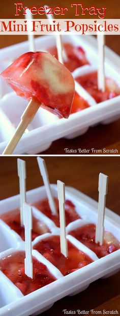Cool Frozen Food Ideas with Ice Cube Trays | Freezer Tray Mini Fruit Popsicles by DIY Ready at http://diyready.com/14-unexpected-ways-to-use-an-ice-cube-tray/