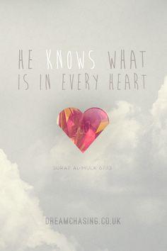 dreamchasingblog:    He knows what is in every heart.  Surat Al-Mulk 67:13