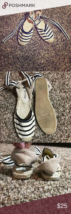 Soludos sandals with ties White and navy blue sandals that wrap up the leg. Very lightly used. No marks or stains. Size 6. Shoes Sandals