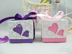 Wholesale 100 pcs Hollowed Heart Candy Box Romantic Wedding Favors Jewelry Gift boxes Pink / Purple, Free shipping, $0.26-0.3/Piece | DHgate