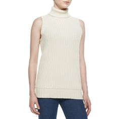 Michael Kors  Ribbed Knit Turtleneck ($410) ❤ liked on Polyvore featuring tops, sweaters, vanilla, michael kors tops, rib knit sweater, ribbed knit top, michael kors turtleneck and ribbed knit sweater