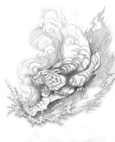 Japanese Tiger Tattoo Designs | Tattoo Designs by Joseph Gilland: Elemental Tiger Tattoo design