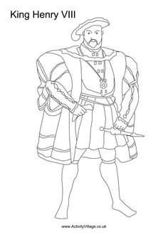 Henry VIII colouring page...a table where people can colour in pictures of English monarchs.