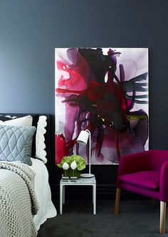 Winter Haven Inspiration: Moody blue walls are brightened with pops of jewel tones...  Image Source blog.templeandwebster.com.au