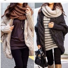Oversize cardigans and infinity scarves