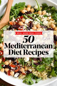 Enjoy 50 Mediterranean recipes for breakfast, lunch, and dinner and make it easy to add more of the Mediterranean Diet lifestyle to your weekly meal plan. Healthy Dinner Recipes For Weight Loss, Healthy Recipes, Real Food Recipes, Medeteranian Recipes, Dash Diet Recipes, Dessert Recipes, Lunch Recipes, Delicious Recipes, Crockpot Recipes