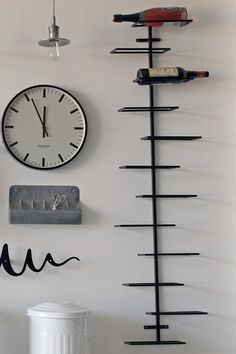 Decorating: Charming Accessories For Kitchen Decoration Using Black Staining Wall Mounted Metal Wine Rack Including Mounted Wall Steel Spice Rack And Round Vintage Steel Plate Kitchen Pendant Lamp Shade Design Industrial Bookshelf, Industrial Cafe, Industrial Living, Industrial Interiors, Industrial Bathroom, Industrial Closet, Industrial Windows, White Industrial, Industrial Restaurant