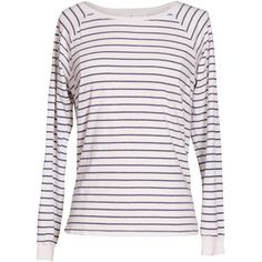 Velvet by Graham and Spencer Lele Vintage Stripe Cotton Long Sleeve... ($108) ❤ liked on Polyvore featuring tops, t-shirts, blue, long sleeve crew neck tee, white cotton t shirts, striped t shirt, blue t shirt and striped tee
