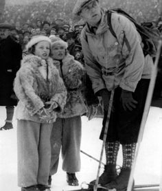 King Olav V of Norway with his daughters Princess Ragnhild and Princess Astrid.