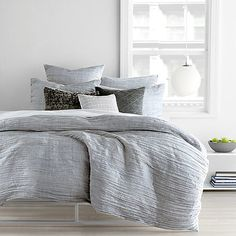 DKNY City Pleat Duvet Cover in Grey- for if we get a white upholstered bed