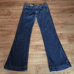 Miss Me Flare Jeans Darker wash Miss Me Jeans.  In great used condition other than some slight wear on the hems (see picture).  All buttons and belt loops intact.  Size 26 - and the Inseam measures 29 inches.  Feel free to ask questions or make an offer! Miss Me Jeans Flare & Wide Leg