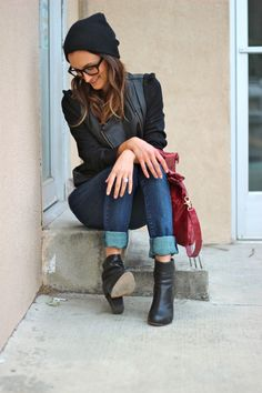 Everyday Comfort  layered textured black, splash purse, classic jeans with a twist