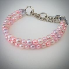 Hey, I found this really awesome Etsy listing at https://www.etsy.com/listing/227588420/multi-pink-pearl-double-strand-dog