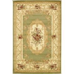 Traditional Versailles Green 4 ft. x 6 ft. Area Rug