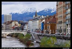 grenoble france | Picture/Photo: Isere riverbank and snowy mountains. Grenoble, France
