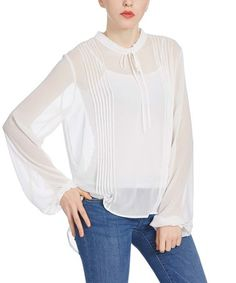 Love this White Sheer Chiffon Puff-Sleeve Hi-Low Top on #zulily! #zulilyfinds