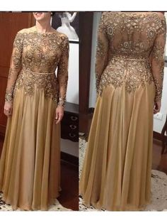 Gold Lace Bead Mother of the Bride Dresses Mother of Groom Dress Plus Size Long Sleeves Scoop Evening Party Gowns Mother Of The Bride Plus Size, Mother Of The Bride Dresses Long, Mother Of Bride Outfits, Mothers Dresses, Mother Bride, Wedding Guest Gowns, Wedding Party Dresses, Prom Party, Bridal Dresses