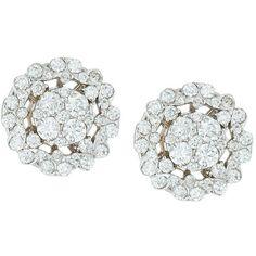Neiman Marcus Diamonds 18k White Gold Diamond Flower Stud Earrings (28 800 ZAR)…