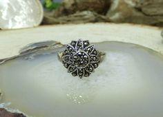 Vintage Sterling Silver & Marcasite Ring; Textured Floral Design; Size 5.5!! #Unbranded