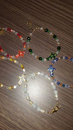 Bracelets pulseras cruz de murano y cristales