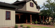 Board & batten look w/ James Hardie siding. Front Porch Addition, Cabin Style Homes, Vertical Siding, Siding Options, Fiber Cement Siding, Board And Batten Siding, Interior Design Gallery, Colorado Homes, Exterior Paint Colors