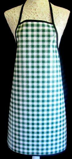 Green Gingham APRON / Pinny PVC/OILCLOTH - Lightweight - Wipeclean - Craft - Cooking - Baking, etc by hurdygurdystore on Etsy