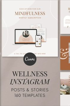 Get inspired to share your wellness content on Instagram with these 160 Canva templates! This Instagram Template Kit includes both posts and stories so you can be sure to create a consistent message throughout. These templates are specifically designed for health & wellness coaches, bloggers, entrepreneurs, fitness professionals, therapists, yoga and meditation facilitators.