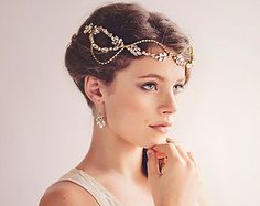 Gatsby Bridal Headpiece, Gold Crystal Hairvine , The Daisy Couture Headpiece #11