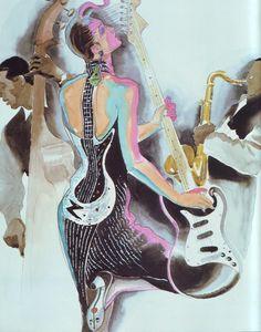 1983 - Karl Lagerfeld 4 Chloé Guitare dress by Antonio Lopez