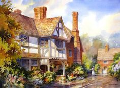 Watercolor Painting Demonstration Step-by-step Painting Techniques – Village in Kent England – Roland Lee