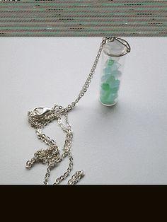 Seafoam Sea Glass Vial Necklace
