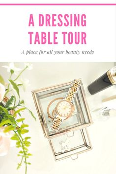 A dressing table tour, come see my new makeup vanity. Home Interior Accessories, Dressing Table, My Beauty, Makeup Inspo, Own Home, Floral Arrangements, Floral Design, Hair Makeup, Vanity