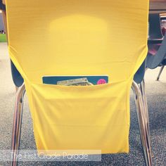 Coolest idea ever-- stretchy fabric book cover turns into a chair pocket!