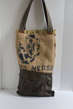Burlap and Leather Tote Bag Foldover Leather Tote by Liquidshiva,  79.00  Burlap Tote, Eco 413604e34e