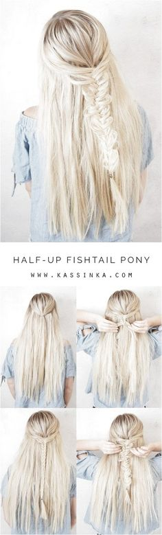 Half-up Fishtail Pony (Kassinka) Love simple half up hairstyles, here is a look that is very common – a fishtail braid! I created this hair tutorial to help you always feel your best & look amazing. Read the steps below and then let My Hairstyle, Pretty Hairstyles, Braided Hairstyles, Half Pony Hairstyles, Hair Day, Gorgeous Hair, Hair Looks, Hair Trends, Hair Inspiration