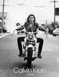 Carrie Otis in vintage Calvin klein circa 1980's. Hot biker Chick is always in style.