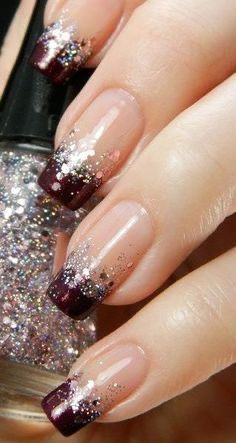 Glitter French Nails, Sparkly Nails, French Tip Nails, Glitter Nail Art, Glitter Wine, Nail Glitter Design, Glitter Shoes, French Manicures, French Nail Art