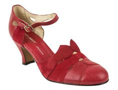 Re-Mix Trieste Heels: These red Trieste Heels from Re-Mix are inspired by the fabulous 1920's! The scalloped design features a beautiful mix of suede and leather that's sure to make a great impression. They also have an adjustable ankle strap and unique cutout. #trashydiva