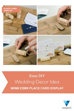 For a creative twist on wedding table name cards, reuse wine corks as displays to hold name cards. First, acquire a proper amount of corks to account for every attendee of your wedding. Cut the bottom half of the cork so it can stand up firmly. Then, make a slit so it can hold the name card. Slide the personalized name card and you'll have a party perfect table ready for the big day. Try out this easy DIY project and don't forget to order your name cards and enjoy 25% off at Vistaprint…