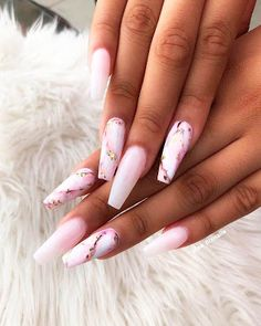 Best Coffin Nails Ideas That Suit Everyone Wonderful pink marble coffin nails with pink & white ombre nails!Wonderful pink marble coffin nails with pink & white ombre nails! Ombre Nail Designs, Cute Nail Designs, Marble Nail Designs, Light Pink Nail Designs, Acrylic Nail Designs Coffin, Gel Designs, Awesome Designs, Beautiful Nail Art, Gorgeous Nails