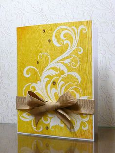 handmade card: embossing over printed paper .... 90-minute scramble card by Tina (julmat) ...